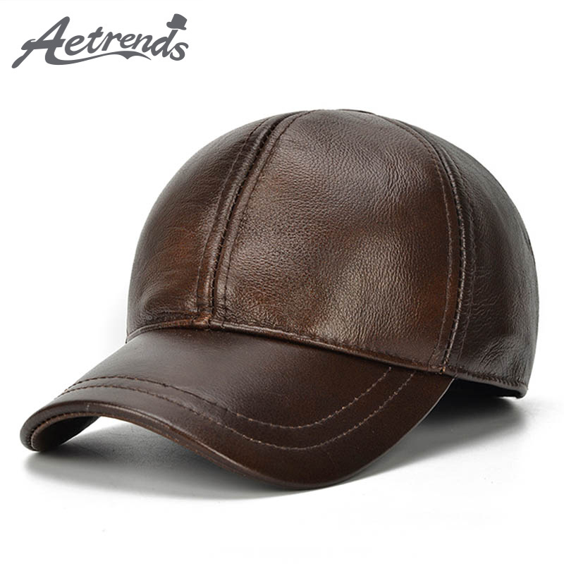 [AETRENDS] 2017 New Winter Hats with Ear Flaps Men's Genuine Leather Baseball Caps Men Z-5294 aetrue winter knitted hat beanie men scarf skullies beanies winter hats for women men caps gorras bonnet mask brand hats 2018