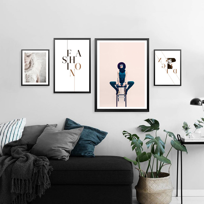 Fashion Design Posters Wall Art Canvas Painting Nordic Poster Picture Girl Pictures For Living Room