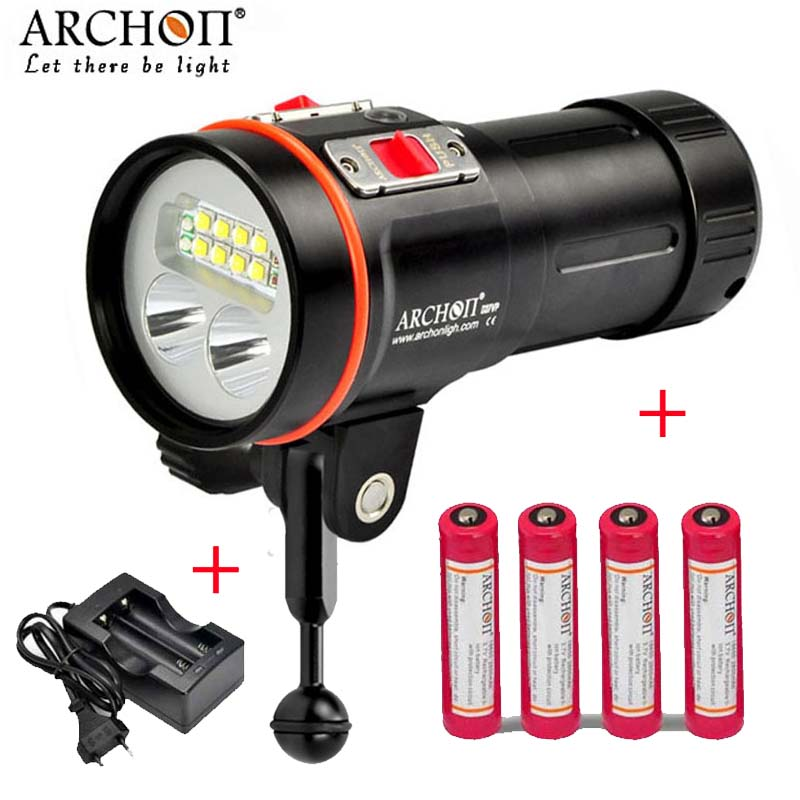 100% Original ARCHON D37VP W43VP update D36vr W42vr D36V 100M Underwater Diving Light Flashlight Torch with Battery and charger 100% original archon d37vp update d36vr w42vr u2 uv multifunction underwater photographing sea diving flashlight video light