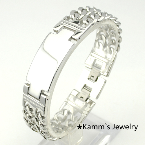 Lose Money Promotion!Fashion Mens 316L Stainless Steel ID Silver Plated Cuff Bracelets Womens Biker jewelry new pulseiras KB107