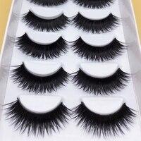 Exaggerated False Eye Lashes 1 Box 5 Pairs Thick Black False Eyelashes Makeup Tips Natural Smoky