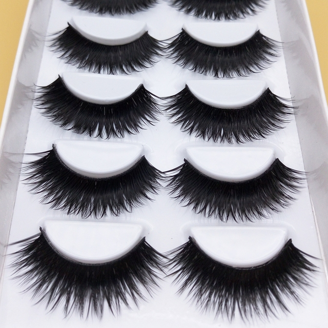 YOKPN Cílios Postiços 1 Caixa De 6 Pares Falsos Preta Grossa Dicas de Maquiagem Smoky Maquiagem Natural Longo Falso cílios Eye Lashes k70