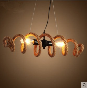 Loft Led E27 Edison Bulb, Wrought Iron pipe Hemp Rope Pendant or Ceiling Lamp Retro Bar Cafe American Country industrial Light