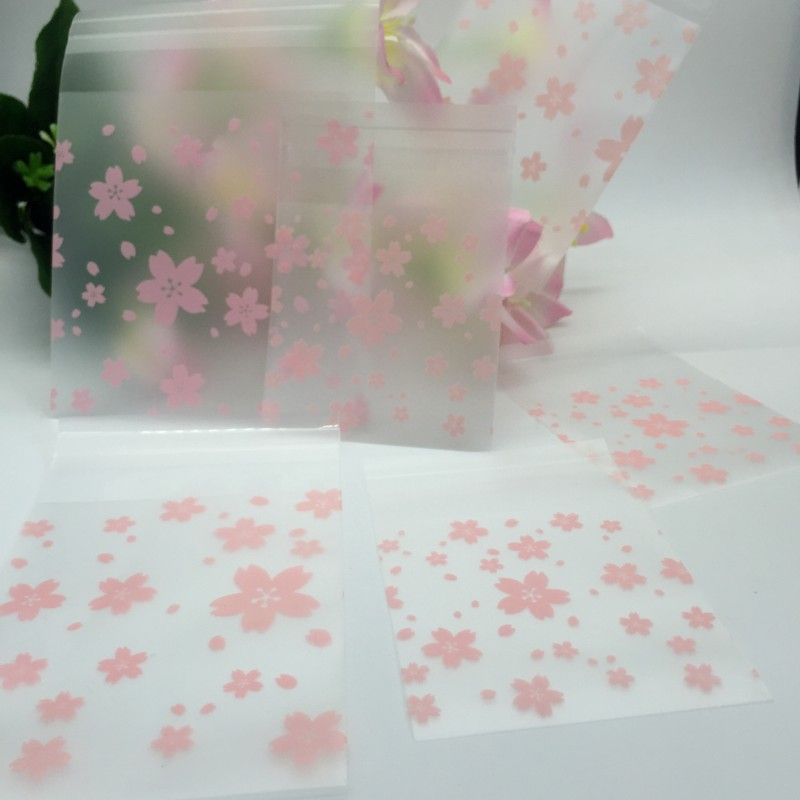 100Pcs//Set Pink Cherry Blossoms Cookie Candy Bag Plastic Package Holder Gift