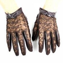 Touchscreen guanti di pelle di pecora delle donne del merletto di modo sottile sfoderato primavera e lestate delle signore di cuoio del driver di trasporto libero