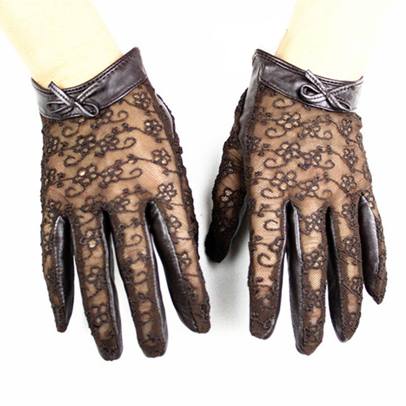 Touchscreen Women's Sheepskin Gloves Fashion Lace Thin Unlined Spring And Summer Ladies Leather Driver Gloves Free Shipping