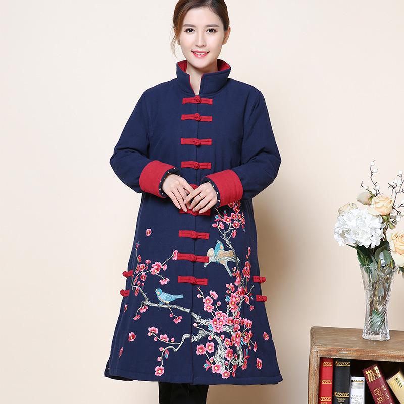 2017 New Fashion National Wind Button Embroidery Cotton Linen Long Section Women 's Winter Large Size Chinese Style Original