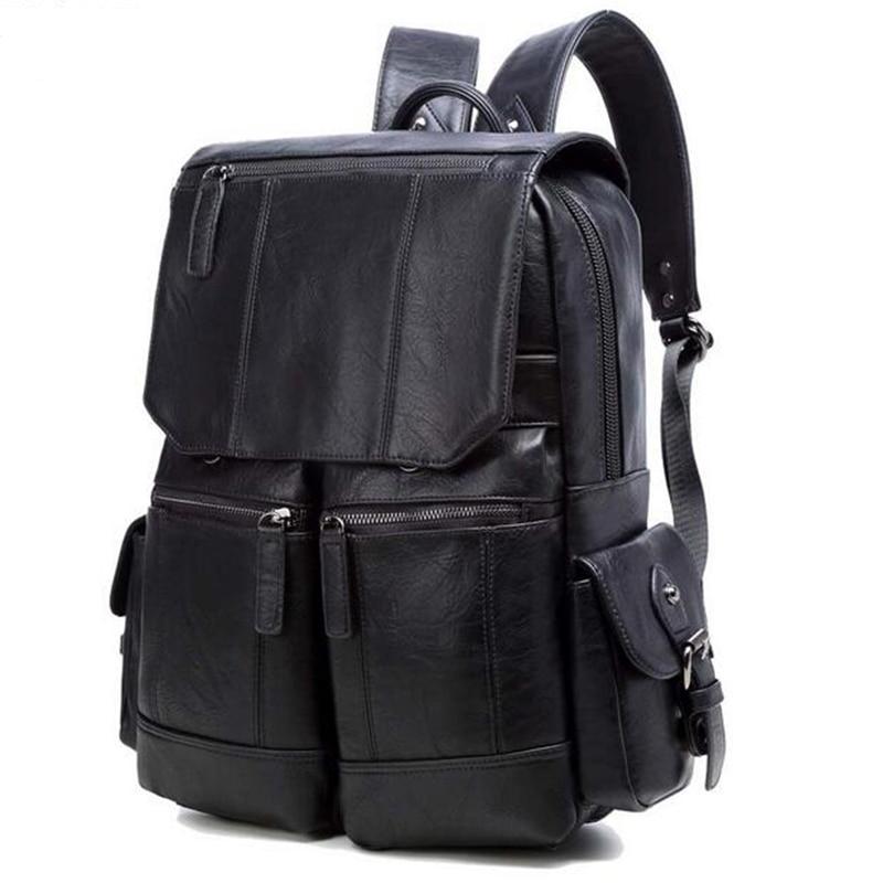 WILIAMGANU décontracté hommes sac à dos en cuir PU cartable de haute qualité sac de voyage Designer sac à dos homme ordinateur portable sac d'école pour adolescent