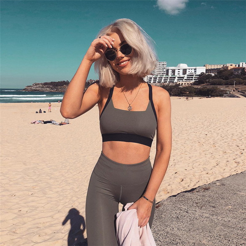OVESPORT 2019 Solid 3 Colors Women/'s Sets Workout High Waist 2 Piece Outfits for Women Slim Push Up Breathable Quick Dry Knitted