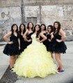 Belos cristais ball vestido beading vestidos quinceanera sweet 16 vestido amarelo 2017 cascading ruffle organza vestido de baile menina vestido