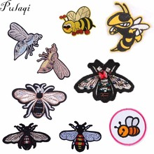 Pulaqi Cute Bee Patches Iron On Clothes Cartoon Badges Stickers On Bags T-shirt Jeans Embroidered  Accessories For Kids Women H