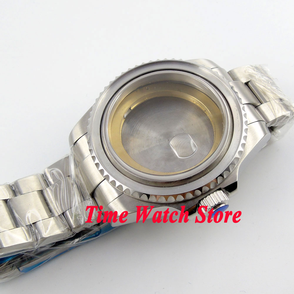 лучшая цена 43mm Sapphire glass stainless steel Watch Case with bracelet fit ETA 2824 2836 movement C101