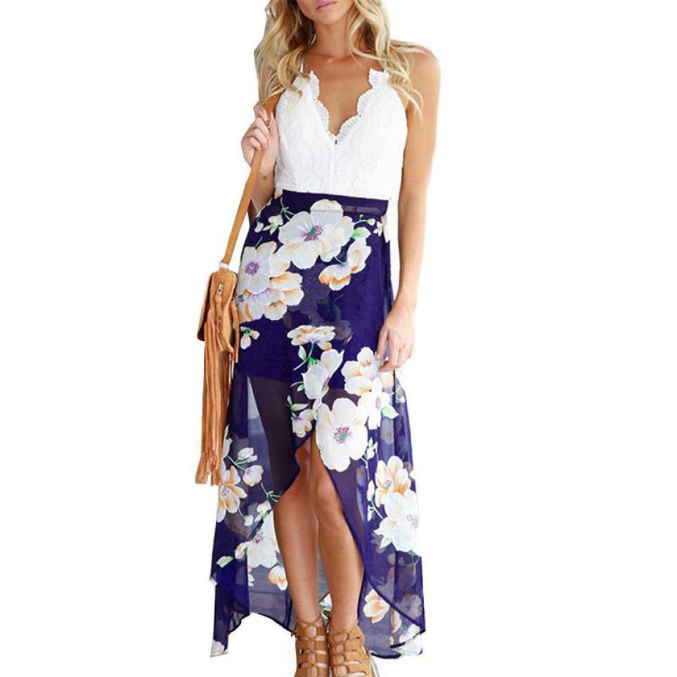 Women Lace Backless Long Dress Deep V-neck High Waist Beach Maxi Dress Strapped Irregularities Sexy Dresses Slim Sundress-13