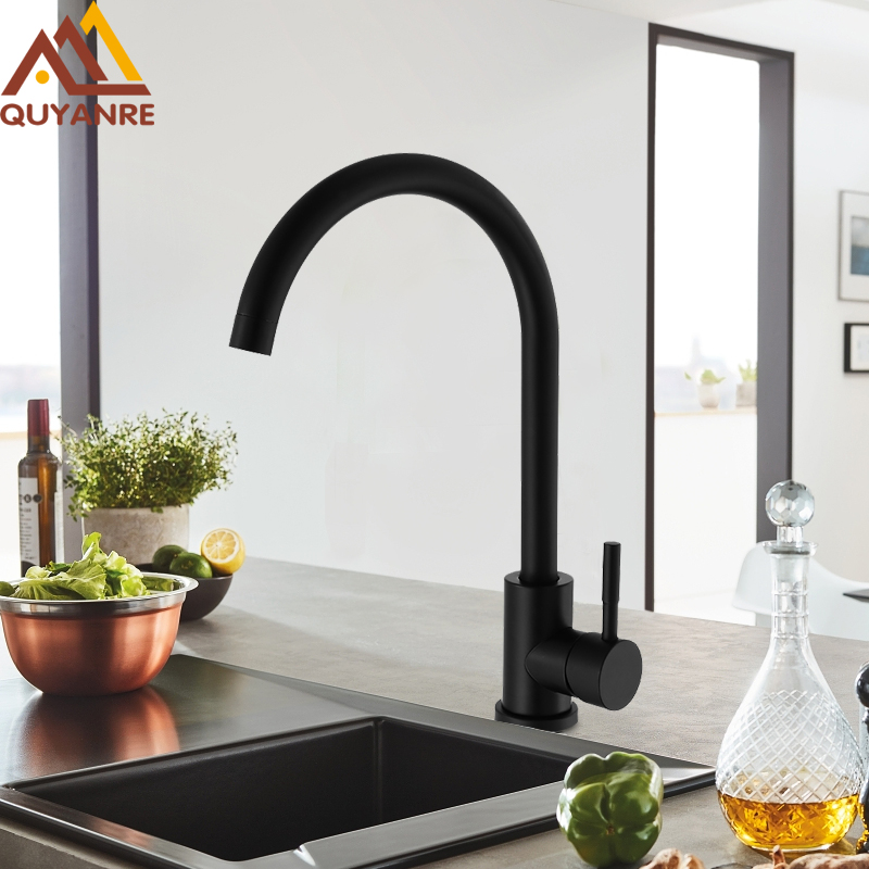 Quyanre Matte Black White Kitchen Sink Faucet SUS304 Stainless Steel 360 Rotation Kitchen Water Tap Single Handle Mixer Tap цена 2017