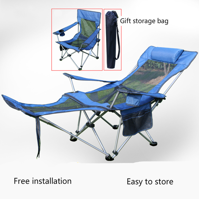 Outdoor Portable Leisure Lounge Chair Fishing Stool With Footrest Light Folding Camping Rest Bed Breathable Simple