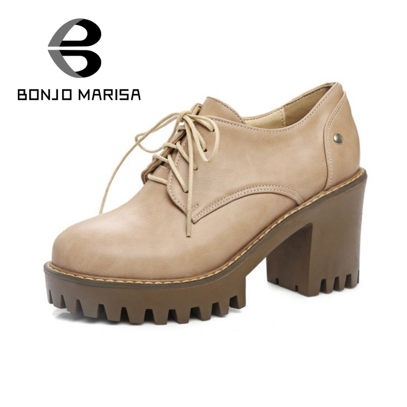 BONJOMARISA New Big Size 34-43 Square High Heels Thick Platform Women Pumps Casual Lace Up Dating Girls Shoes Woman