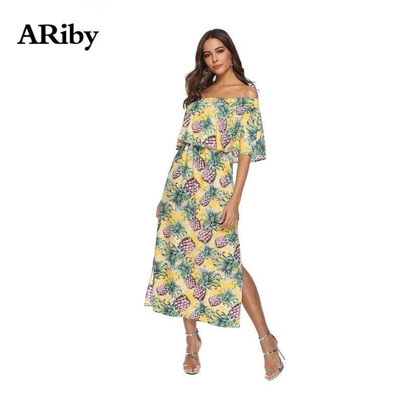 Women Dress Summer Long Dress 2019 New Lady Bohemian Chiffon Floral Printed Empire Slash Neck Strapless Split Beach A Line Dress in Dresses from Women 39 s Clothing