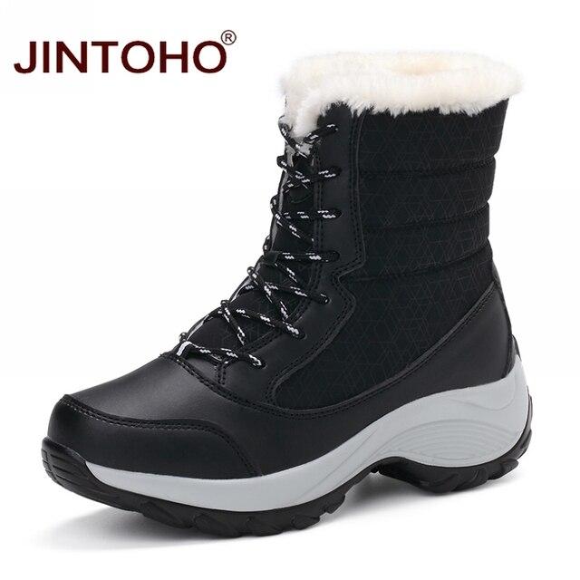 Jintoho/большой Размеры зимние женские зимние ботинки модная зимняя женская обувь осень, для женщин Сапоги и ботинки для девочек до середины голени ботинки на платформе 2017 Женская обувь