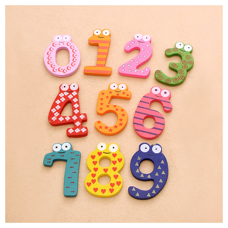 1 Set Colourful 10 Number Cartoon Animals Wooden Fridge Magnet Multi-role Education Learn Wall Sticker Novelty Cute Kid BabyToy