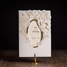 CW5185 mirror frame laser cut wedding invitation free shipping printable customized greeting birthday card