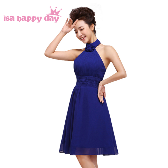 country style formal halter chiffon bridesmaid pretty bridemaid royal blue dresses short for wedding occasion party H1178 day dress
