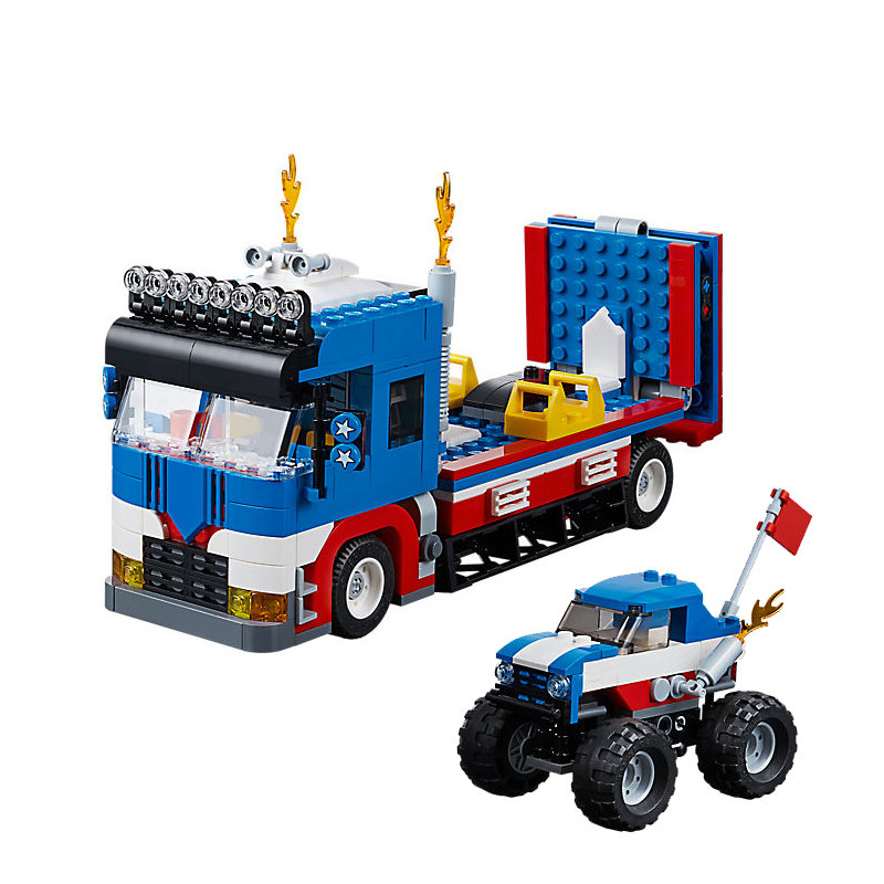 Creator 3 in 1 Mobile Stunt Show Set the Monster Truck and Race Car Model Building Blocks Bricks Kids DIY Toy for Christmas gift