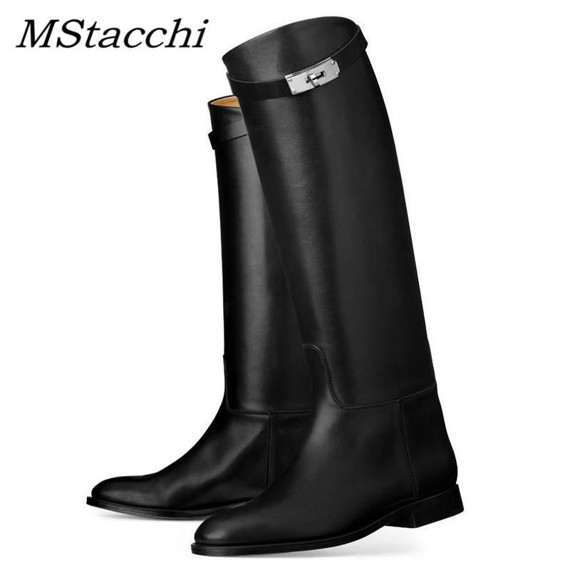 MStacchi Designer Genuine Leather Long Boots Sexy Woman Motorcycle Booties Belt Strap Metal Shark Lock flat