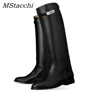 Image 1 - MStacchi Designer Genuine Leather Long Boots Sexy Woman Motorcycle Booties Belt Strap Metal Shark Lock flat heel Knee High Boots