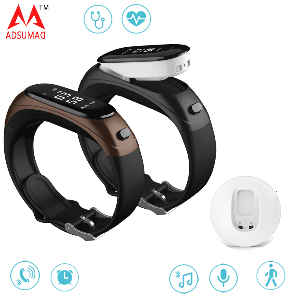 V08 Business smart bracelet earband heart rate monitor blood pressure fitness tracker pedometer bluetooth wristband earphone