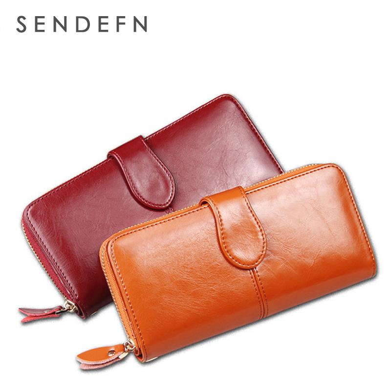 Prix pour Sendefn 100% huile cire peau de vache en cuir femmes portefeuille poche pour téléphone sac à main pochette femelle détenteur de la carte dame d'embrayage carteira feminina
