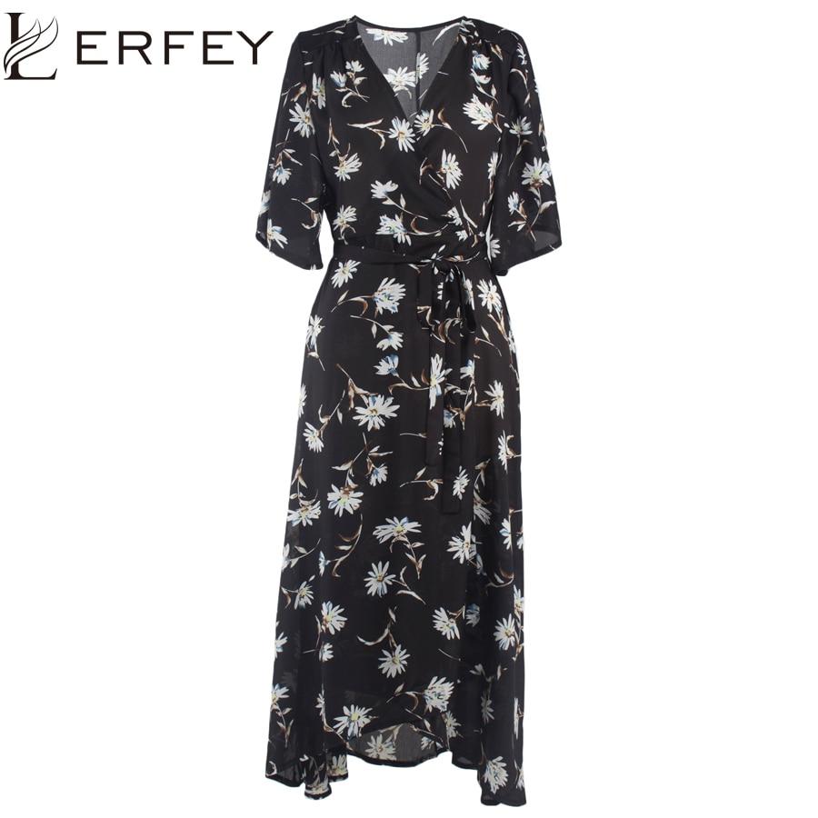 948989cea7e66b6 LERFEY осеннее женское винтажное шифоновое платье Пляжная одежда свободного  кроя в повседневном стиле Платья с цветочным принтом сексуальное.