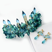 green fabric flower long icicle queen crown luxury tiara wedding hair accessores grinalda de noiva para cabelo