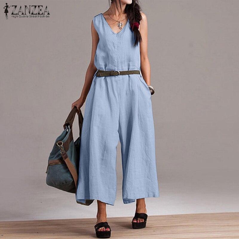 ZANZEA 2019 Summer Rompers Womens   Jumpsuit   Sleeveless   Jumpsuits   Female Cotton Long Overalls Ladies Wide Leg Playsuit Streetwear