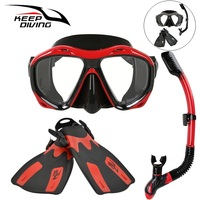 Snorkeling Snorkel Diving Scuba Swim Equipment Silicone Scuba Dive Mask Gear Equipment+Breathing Tube+Swim Flippers
