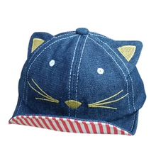 Summer Baby Boy Girl Photography Cartoon Cat Caps Embroidered Striped  Baseball Denim Cowboy Hats New Arrival 0750fb8127f5