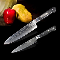 SUNNECKO 2 UNIDS Chef Cuchillo de cocina Japonesa de Acero VG10 Damasco cuchillo Cocinero cuchillo G10 Manejar Cuchillos de Cocina Cortador
