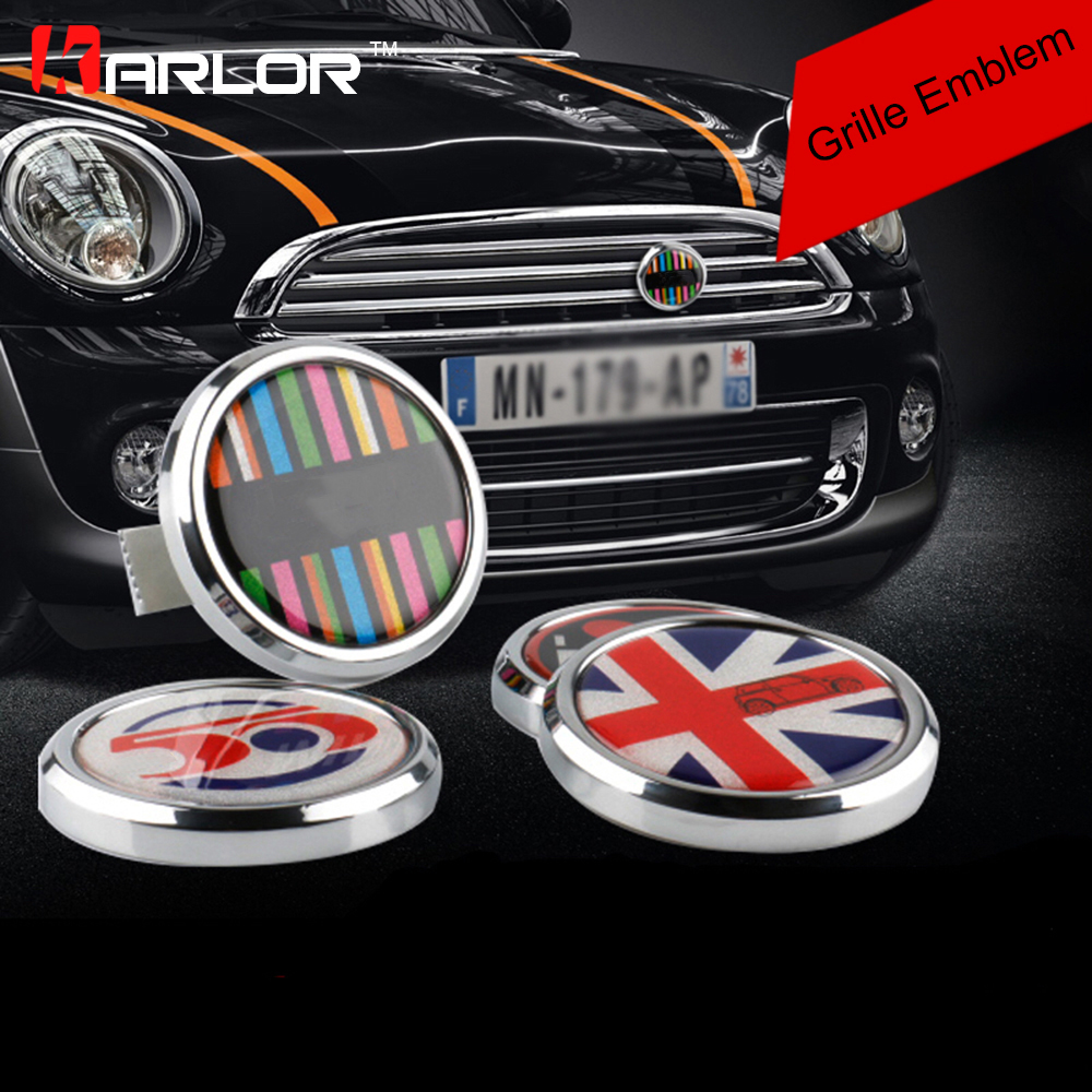 Classic Wreath Metal Front Grill Badge For All MINI Cooper R50 R55 R56 R57 R58 R60 R61 F55 F56 clubman countryman Front Bumper sun protection cool hat car logo for mini cooper s r53 r56 r60 f55 f56 r55 f60 clubman countryman roadster paceman car styling