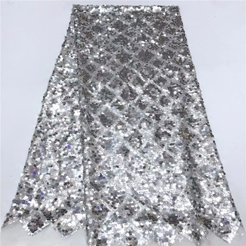 New Design 5Yards African Handcut Organza Lace Fabric African Voile Lace With Allover Sequins High Quality silver FFY7-14