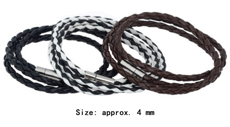 High Quality Trendy Delicate Brown Black Color Pu Leather Interlaced Wristband Bracelet