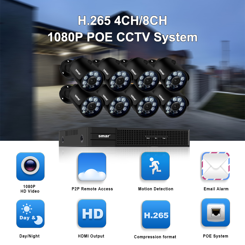 home camera system Smar H.265 8CH CCTV Surveillance Kit 2MP Security Camera System 4CH 8CH POE NVR With 1080P POE IP Camera Set Real Plug and Play (1)