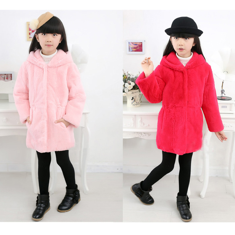 2017 Children Real Whole Fur Rabbit Long Section Coat Winter Warm Kids Warm Outerwear Coat Fur Thick Hooded Casual Clothing C#18 children army coat real rabbit fur clothing winterreversible long parkas kids warm thick outerwear black jacket hooded coat c 7