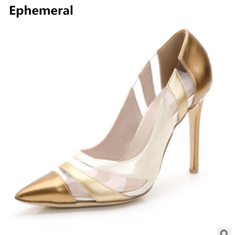 2018 Dame Super High Heel Pumps Punkt Toe Schuhe Lackleder Transpatent Max Größe Frauen Hochzeit Faulenzer Blau/gold/rot