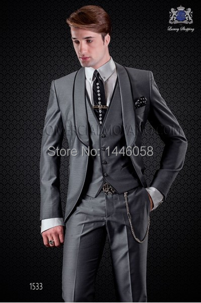2018 Bespoke Mens Italian Design Suits Slim Fit Sliver Grey Men Wedding Suit Tuxedos For Men Groomsmen Prom Suits 3 Piece