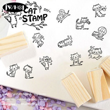 12 pcs/box Lovely Cats wood stamp wooden rubber stamps for scrapbooking Handmade card diy stamp Photo Album Craft gifts