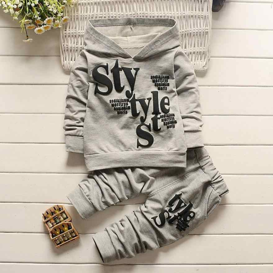 Two colors Toddler Baby Boy Style Letter Print Hood Tops Pattern Pants 2PCS Set Clothes cool Fashion style NEW August 8