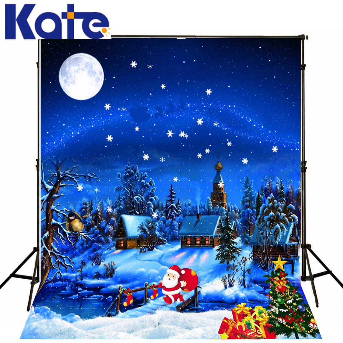 Kate Merry Christmas Backdrop Photography Blue Sky Night Snow Land Background Photo Studio Santa Claus Christmas Tree J01688