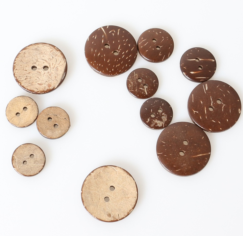 Coconut Button Natural Coconut Shell BOHO Pattern Two Holes Round DIY 15mm 20pcs