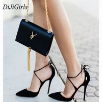 2015 New Summer Style Women S Lace Up High Heels Pointed Toe Bandage Stiletto Sandals Celebrity