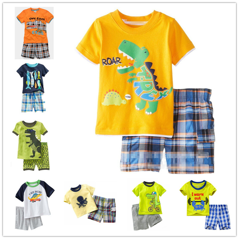 children boy clothing sets cotton dinosaur summer baby boy clothes casual cartoon pajamas baby boy girls kid cartoon clothing pajamas sleepwear sets nightwear outfit children clothes