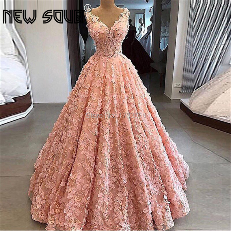 Kaftans Pageant V Neck Flower   Evening     Dresses   With Ball Gown African Prom   Dress   New Saudi Arabic Party Gowns Robe De Soiree 2019